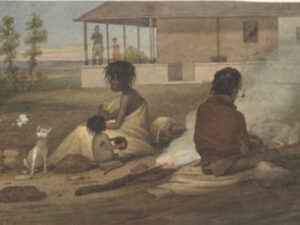 Augustus Earle, c1826 A native family of New South Wales sitting down on an English settlers' farm. (National Library of Australia) The farm has been identified as Glenfield, the home of Charles Throsby at Liverpool.