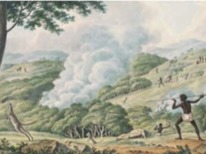 Joseph Lycett, 1817 Aborigines using fire to hunt kangaroos. (National Library of Australia)