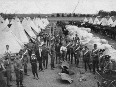 NSW Lancers at Moorebank camp, 1914, Wold War I. (State Library of South Australia)